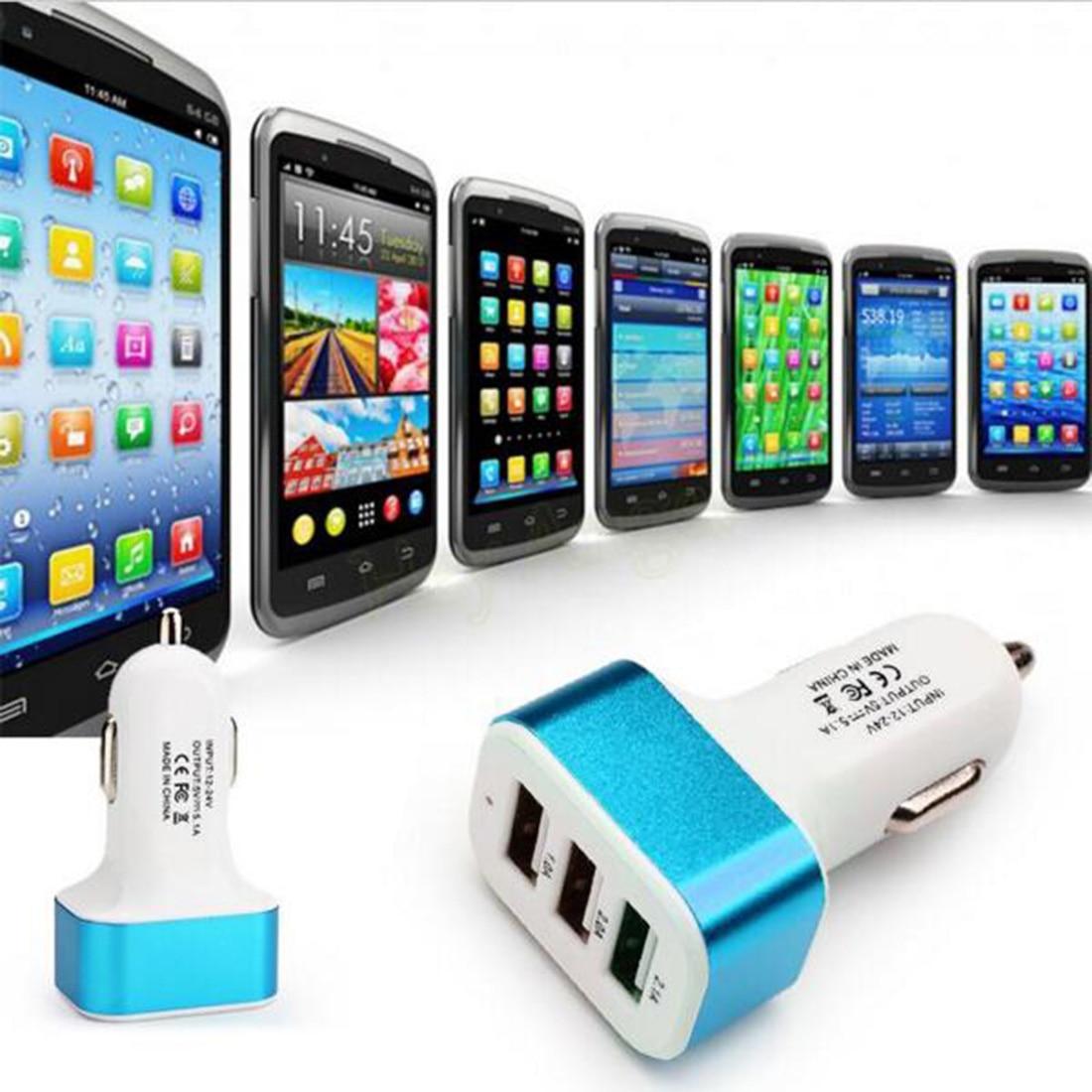 Etmakit nuevo y poderoso 5V 2.1A 3 Puerto USB cargador de coche para iPhone 6S 6 Plus iPad aire mini 2 3 Galaxy S7 S6 Edge + Nota 5