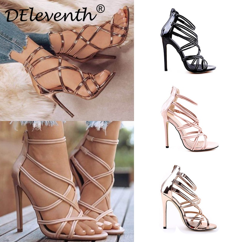 DEleventh Cossover, cubierta recortada, tacón con cremallera, tacones altos, zapatos de mujer, Sandalias negras dorados fiesta, zapatos de boda, Sandalias EUR 43