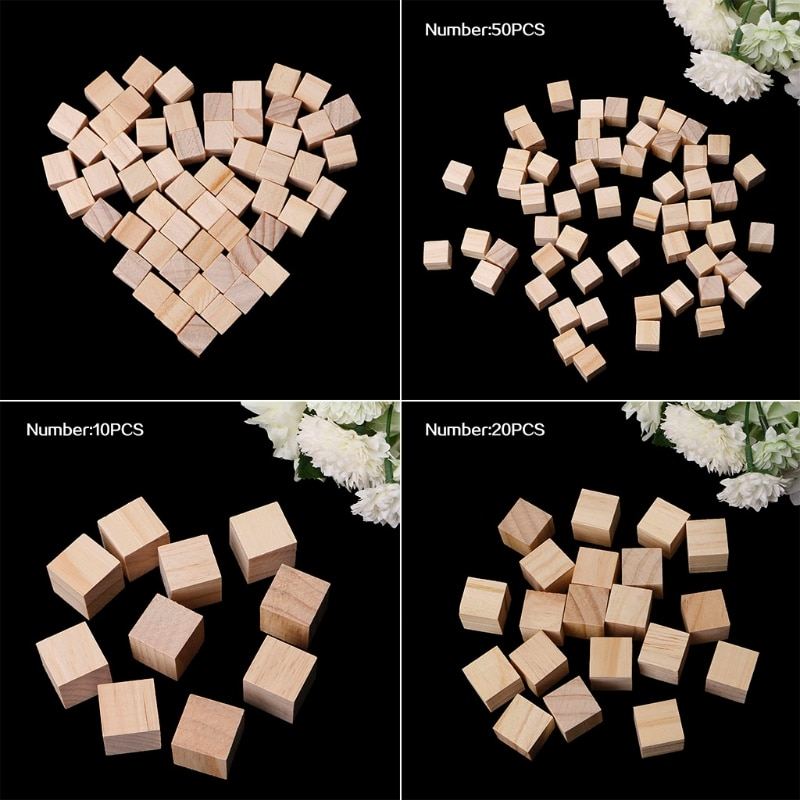 Bloques cuadrados de madera de 10/20/25mm Mini cubos de adorno para manualidades de madera DIY