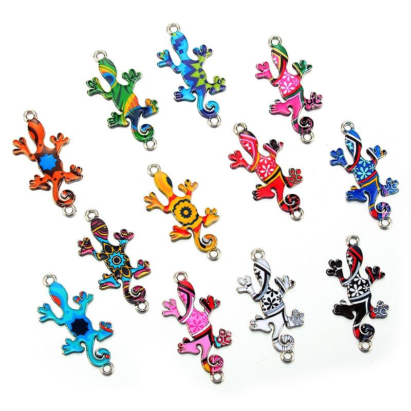 10pcs Colorful Random lizard Enamel Alloy Connectors Bracelets Charms For DIY Necklace Accessories DIY Fashion Jewelry Finding
