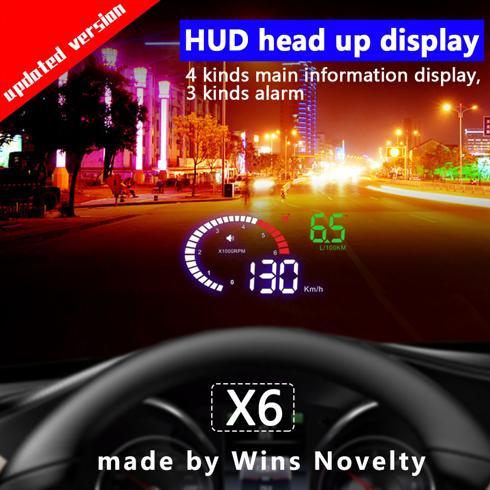 X6 Car HUD Head-Up Display OBD 2 GPS Digital Car Speedometer Alarm Speed Projector Warning Auto HUD OBD2 Display