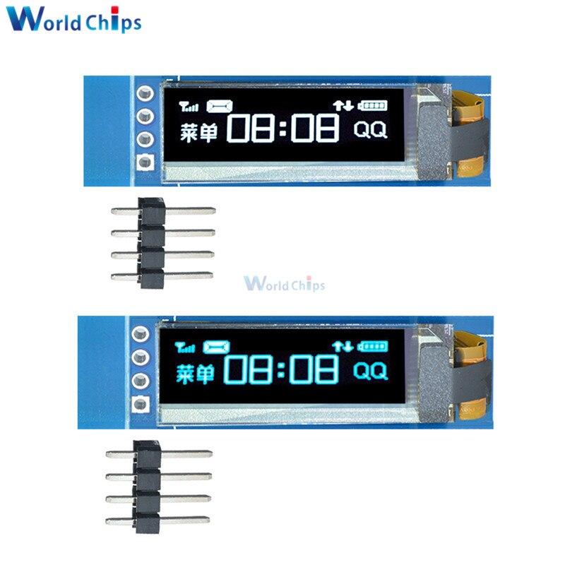 "Серийный синий/белый OLED ЖК-дисплей 0,91 дюйма 128x32, IIC I2C, модуль DIY SSD1306, Драйвер IC 0,91 ""12832 SSD1306 для Arduino PIC"