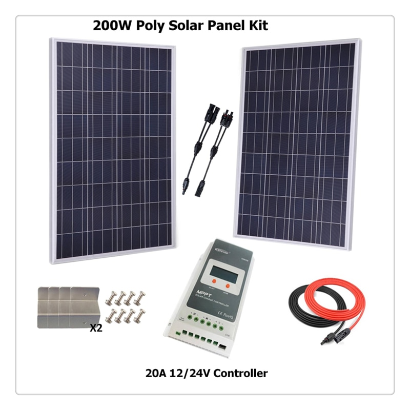 لوحة شمسية متعددة الكريستالات 200 وات مع وحدة تحكم شحن MPPT ، كابل شمسي ، حامل Z ، منزل متنقل ، قارب