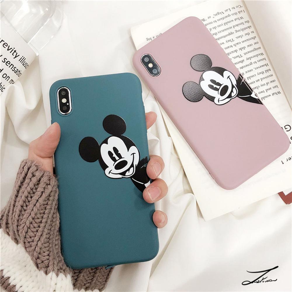 Funda para teléfono con logotipo de Mickey Tpu con dibujo bonito LOVERONY para iPhone XS MAX XR X 6 6S Plus para iPhone 7 8 Plus Coque de lujo