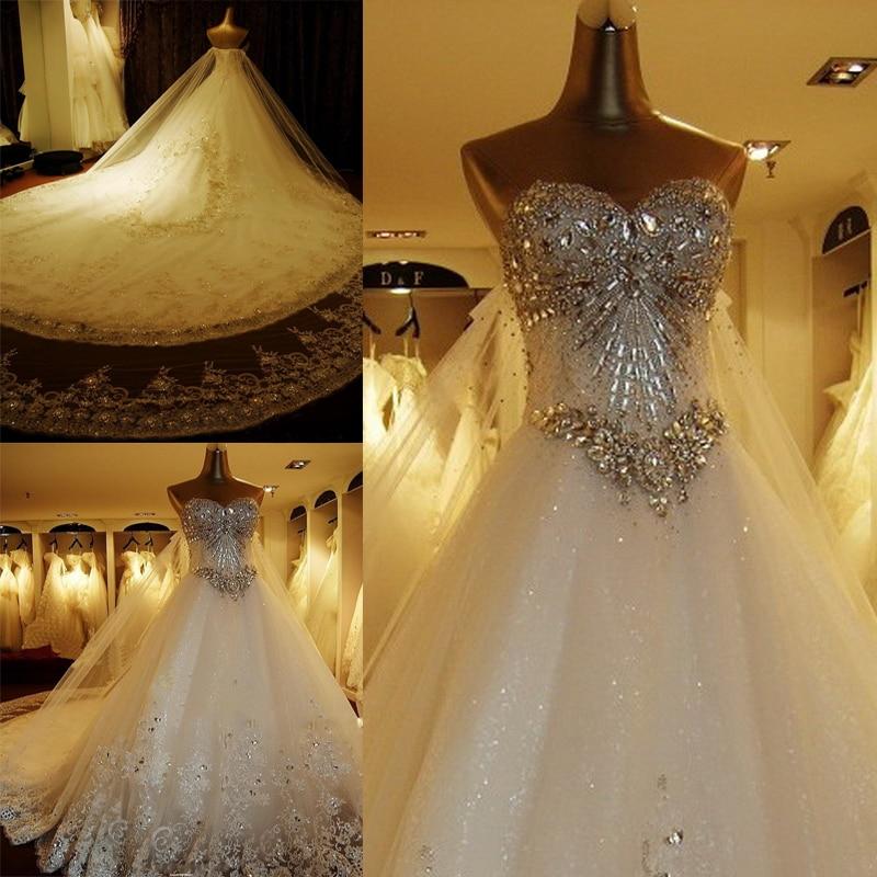 فستان زفاف فاخر من الدانتيل ، مصنوع حسب الطلب ، على شكل قلب ، مطرز بالكريستال ، ألماس ، فساتين زفاف رسمية ، صور حقيقية XJ05