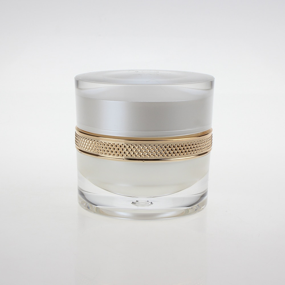 Nuevo jarros de acrílico plástico blanco de 1oz con tapa de rosca, envase cosmético de 30ml para maquillaje, crema facial para el cuidado de la piel