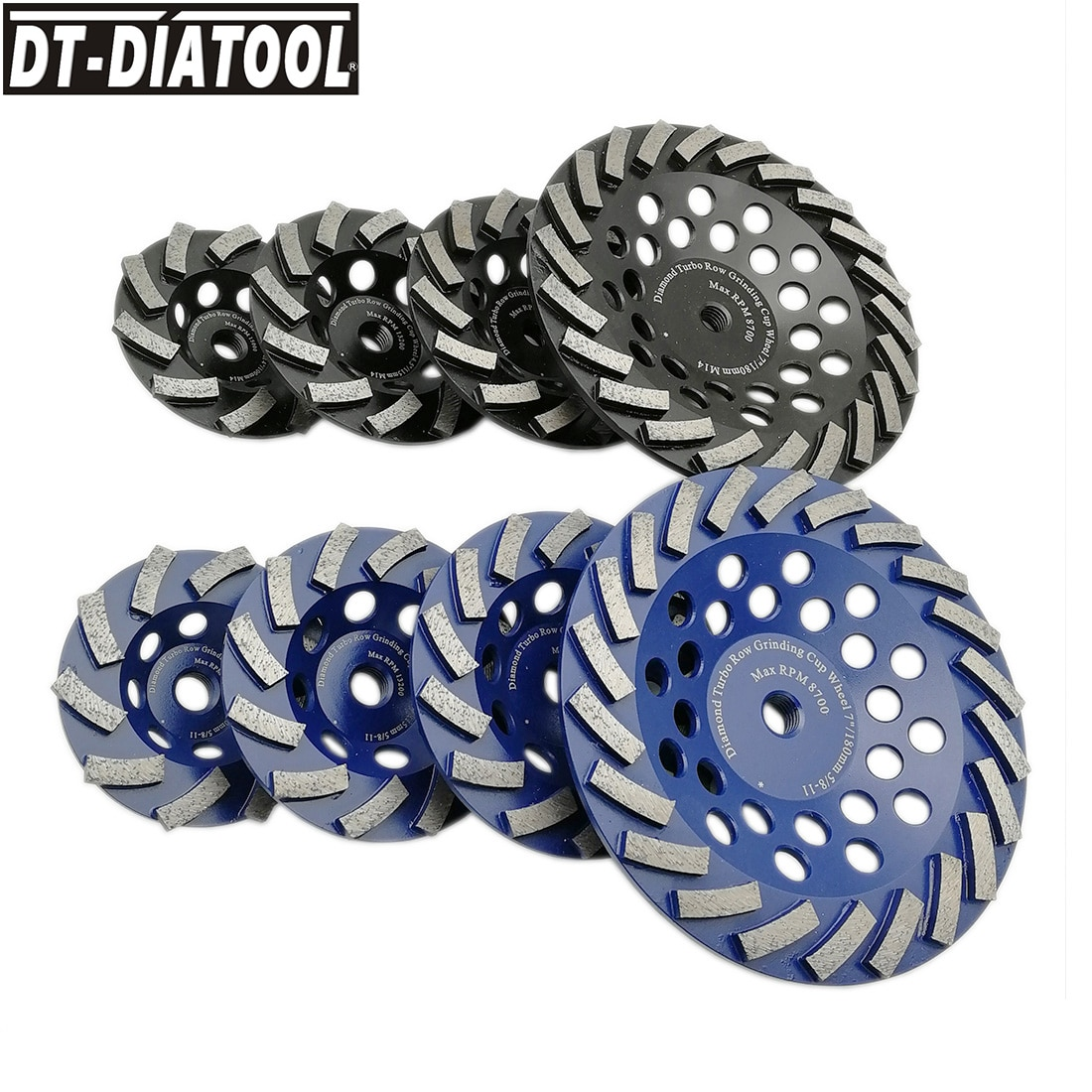 DT-DIATOOL 1pc Diamond Segmented Turbo Cup Grinding Wheel for Concrete Granite with M14 or 5/8-11 thread Dia 100/115/125/180mm