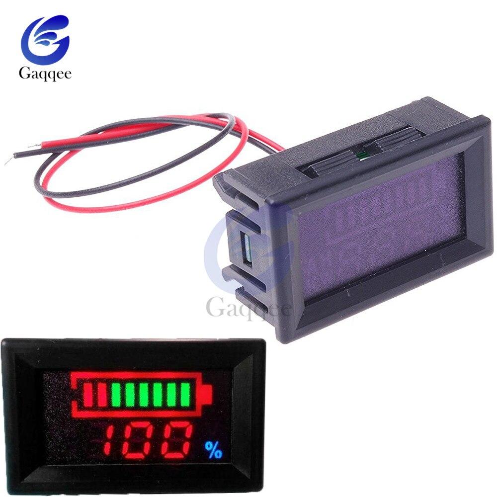 Indicador de nivel de carga de batería de ácido de plomo de 12V, probador de capacidad de batería de litio, medidor de capacidad, voltímetro LED, pantalla Dual