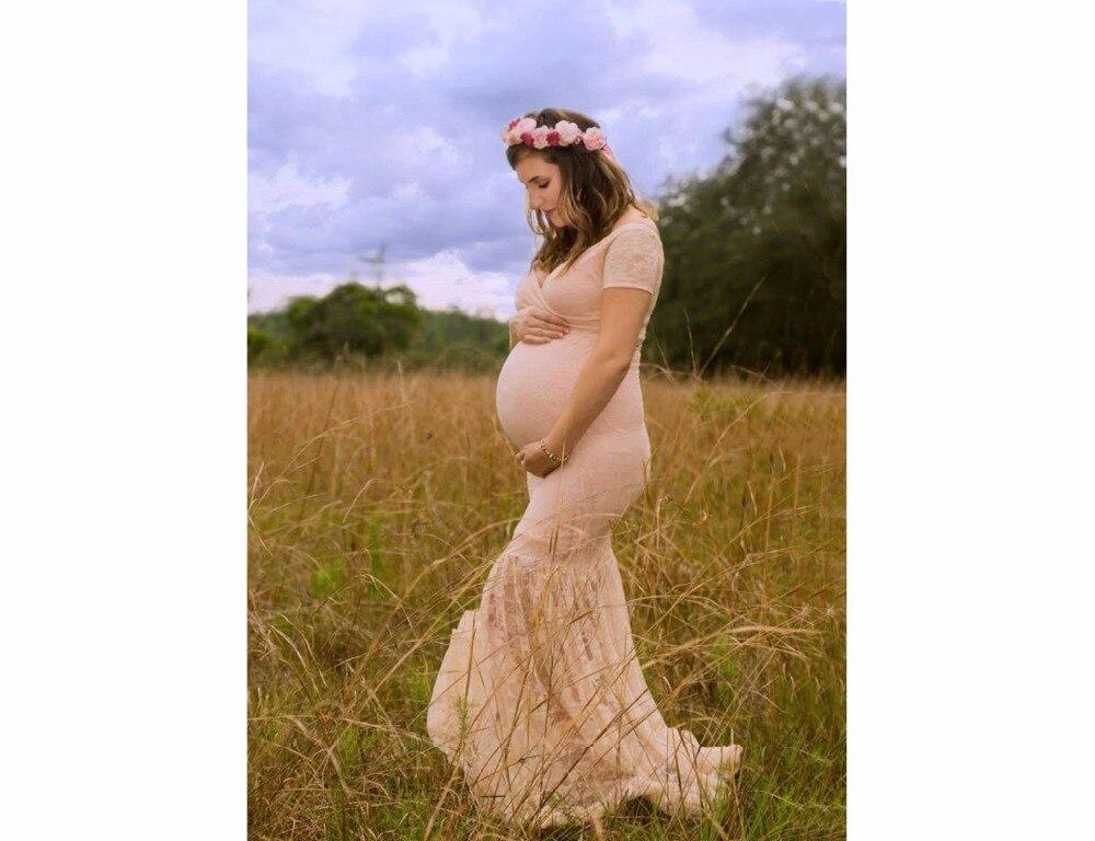 Hot Maternity Pregnant Women Photography Props Fantasy V Collar Mermaid Skirt Lace Dress Princess