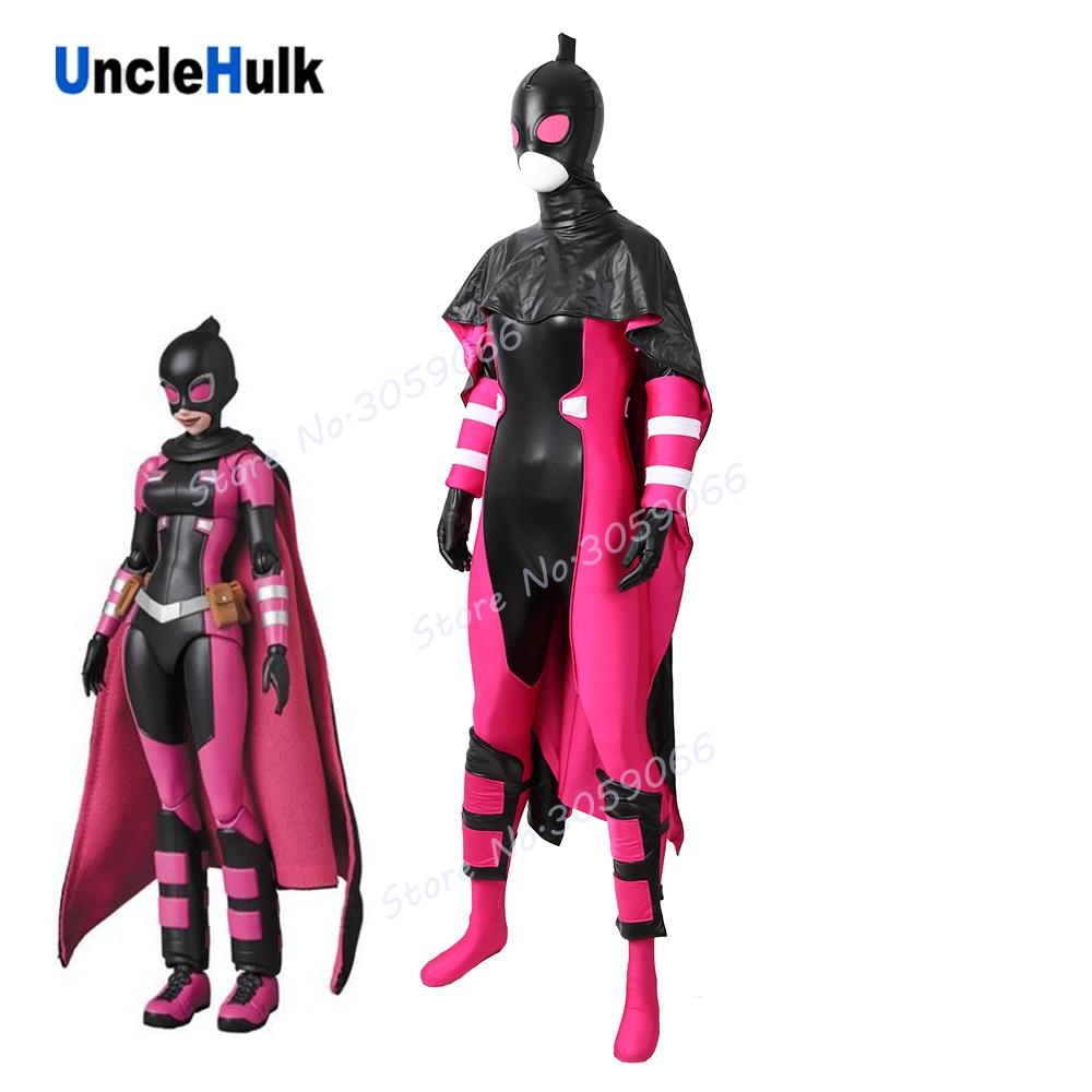 Alta qualidade gwen gwenpool cosplay traje com capa-elastano e tecido glumming   unclehulk