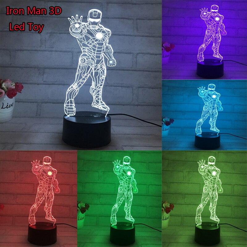 Película caliente Iron Man 3D Led luz Anime modelo juguetes Iron Man stand Pose 7 luz de colores cambiantes Jouet juguete de regalo para cumpleaños