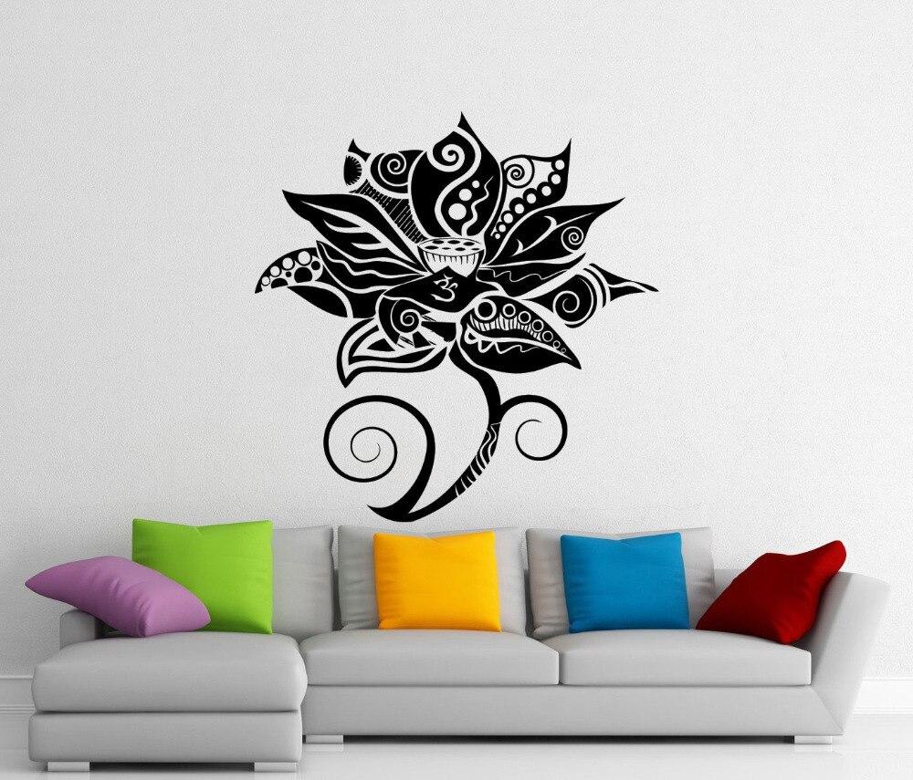 Lotus-calcomanía de pared de flores para Yoga, vinilo, decoración del hogar, sala...