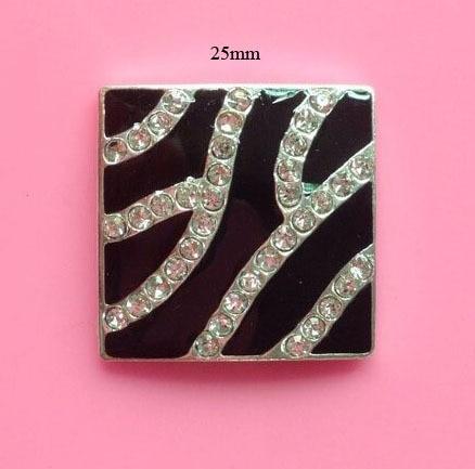 Free shipping 25mm flatback zebra square rhinestone button for DIY 50PCS/LOT(BTN-5467)