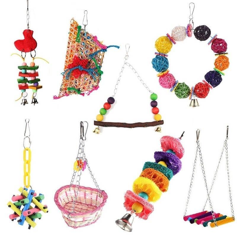 Mascota aves loros de juguete Juguetes Para periquito cacatúa jaula de pájaro hamaca columpio escalada escalera colgando masticar juguetes para pájaros loros