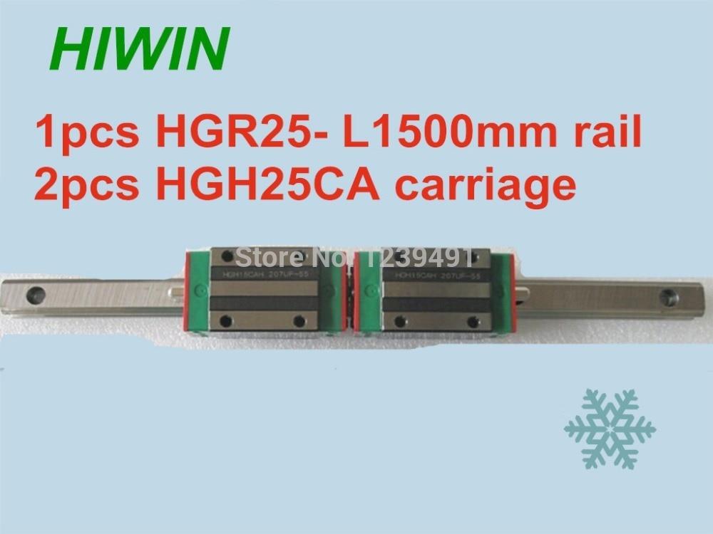 1 pcs HIWIN guia linear hgr25-l1500mm com 2 pcs transporte linear HGH25CA CNC peças