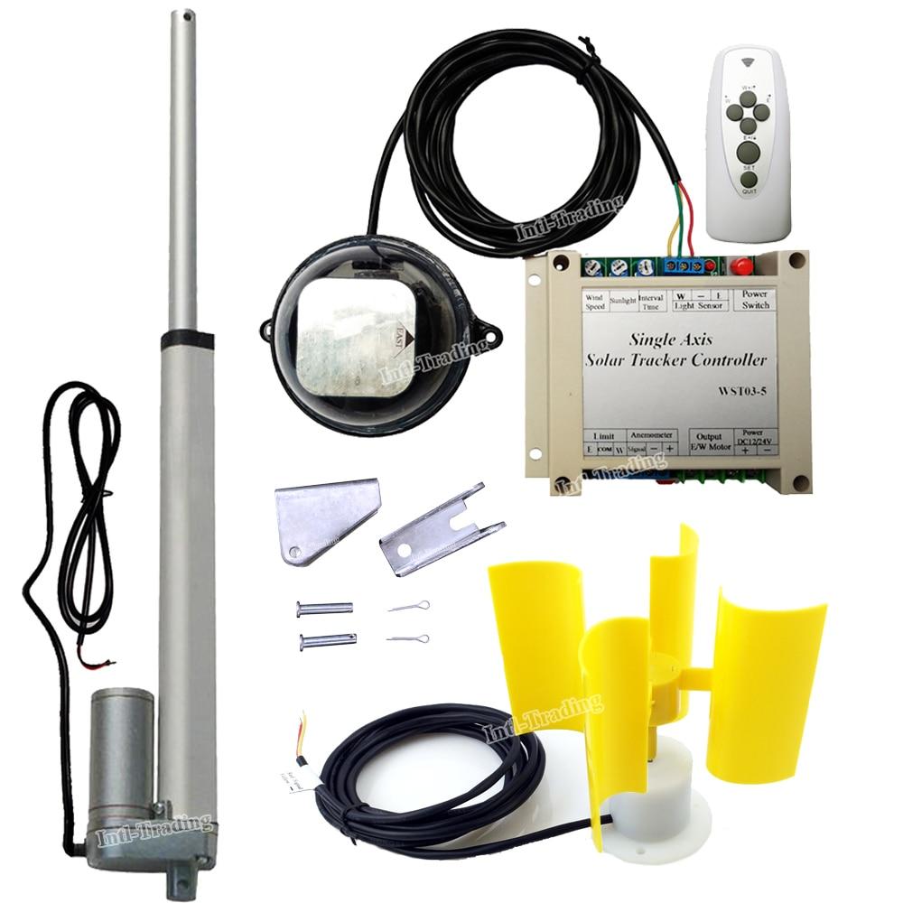 "Controlador eléctrico W/12 V DC Motor 10 ""actuador lineal W/viento/anemómetro sensor completo Panel de celda Solar luz Solar Tracker DIY"