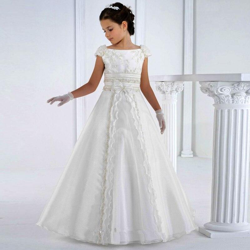 Vestidos de comunión 2020, vestidos de primera comunión, largo hasta el suelo, princesa blanca, flor, niñas, vestidos blancos de comunión