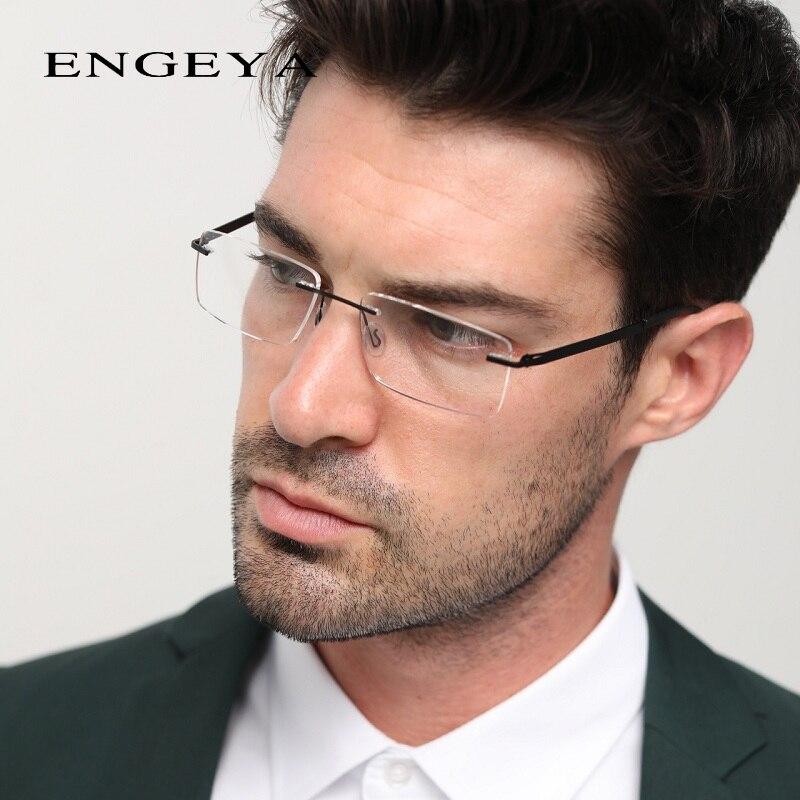 Оптическая прозрачная оправа без оправы, прозрачные очки для близорукости, компьютерные очки для мужчин, очки по рецепту, уникальные шарниры #8028