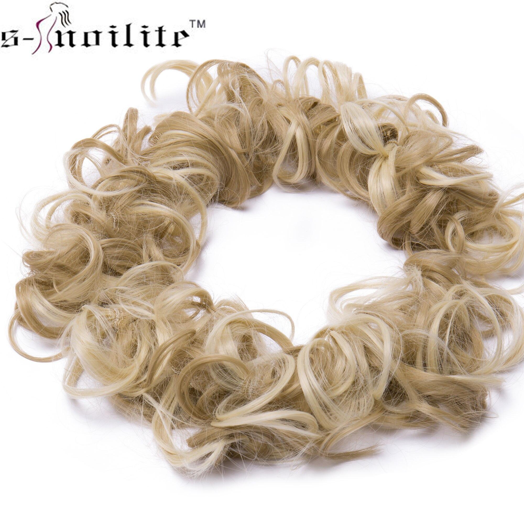S-noilite 80cm Women Curly Bun Chignon Elastic Band elastic synthetic Hair Extension Black High Temperature Fiber Fake Hairpiece