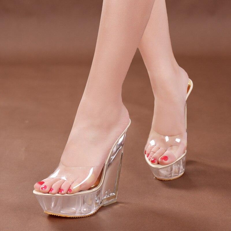 Chinelos de verão sexy nova chegada transparente plataforma cunhas sandálias mulher salto alto 14.5cm sapatos femininos sandalias