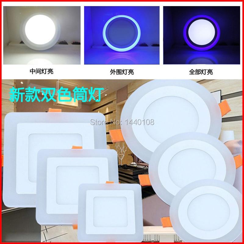 12w cuadrado lámpara de Panel LED de doble Color (azul + blanco) acrílico SMD3528/2835 LED de techo empotrada, luz de Panel Downlight 10pc