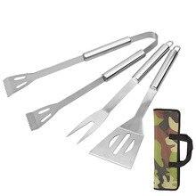 3 stücke BBQ Werkzeug set Portable edelstahl Grill Gabel Lebensmittel Tong Spachtel BBQ Zubehör Kochen set Outdoor Picknick Utensilien