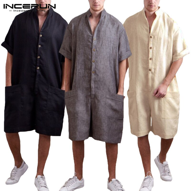 INCERUN Vintage Men Jumpsuit Rompers Cotton Button Half Sleeve Casual Pants Loose Solid Men Cargo Overalls Trousers Men Playsuit