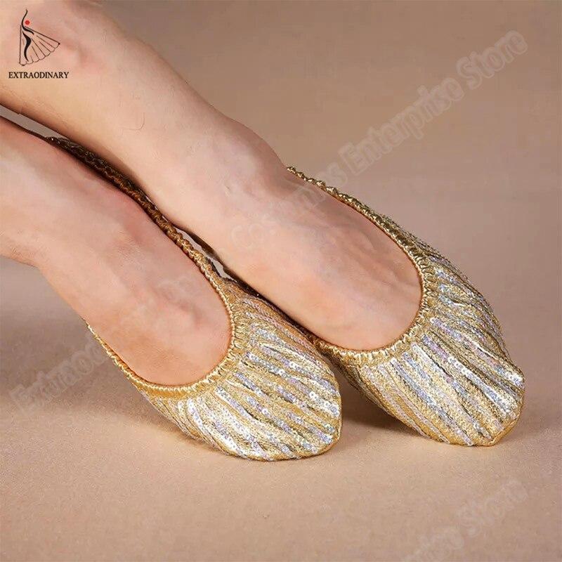 Women Belly Dance Accessory Practice Golden Sequin Shoes Flats Soft Pointe Gymnastics Foldable Balle