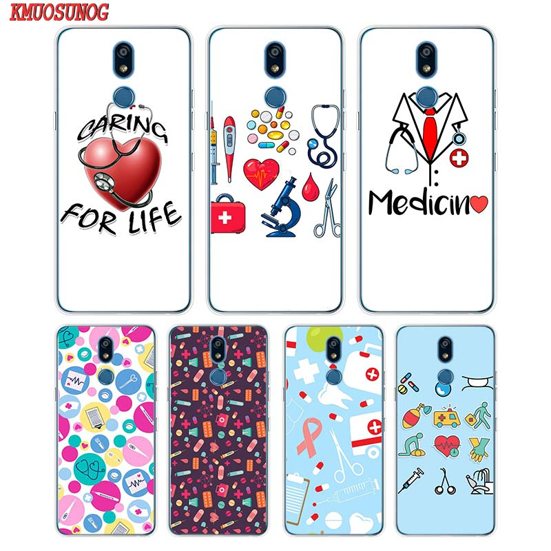 Silicone Soft Phone Case Nurse Medical Medicine Health Heart for LG K50 K40 Q8 Q7 Q6 V50 V40 V35 V30 V20 G8 G7 G6 G5 ThinQ Mini