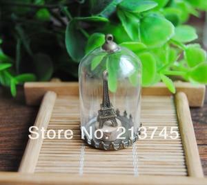 Freeshipping perfect 38*25mm Glass bubble globe & bronze crown base  &6mm cap&70cm necklace Set glass bottle vials pendant DIY