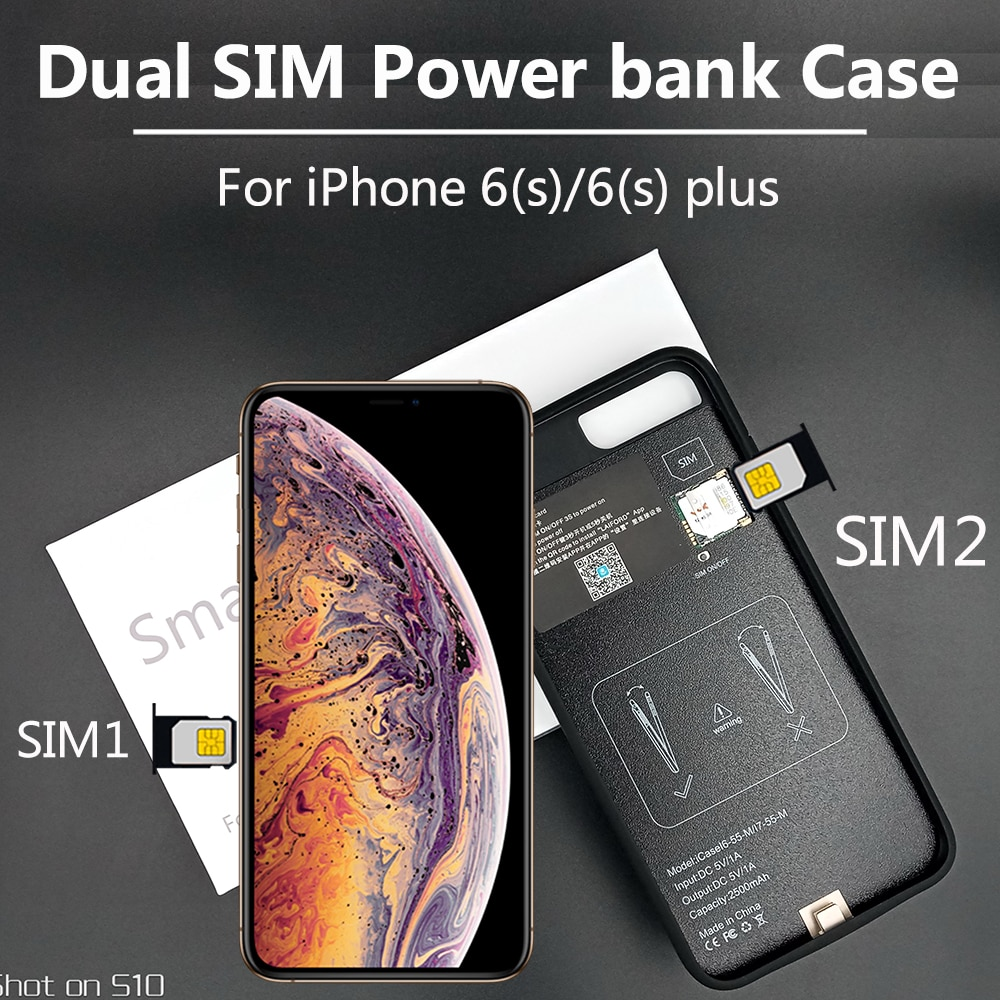 جهاز اتصال بلوتوث مزدوج الشريحة نحيف للغاية وطويل الاستعداد ، لهاتف i Phone 6(s)/6(s) plus ، 2020 مللي أمبير ، جديد لعام 1500/2300