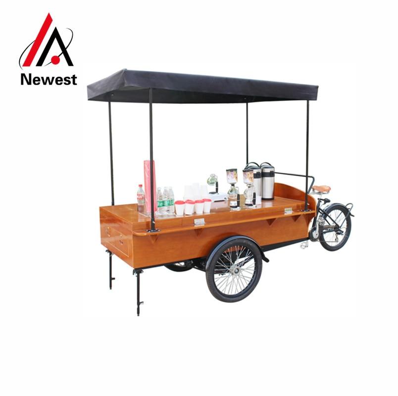 Pedal/bicicleta carrito de comida móvil eléctrico remolque de comida kiosco de café para vender desayuno, crepes