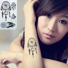 Autocollant de tatouage temporaire imperméable à leau sur le corps capteur de rêves autocollants de tatto flash tatoo faux tatouages pour fille