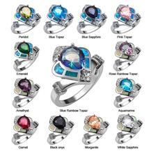 Cristal blanc et bleu clair Zircon péridot grenat Morganite noir Onyx opale Ring925 bague en argent Sterling taille 6 7 8 9 10