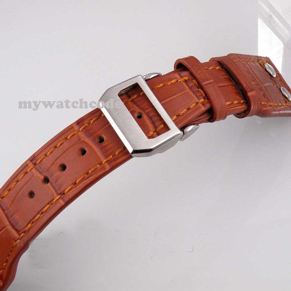 24mm remache desplegable estilo cierre cuero genuino marrón correa de reloj ST19