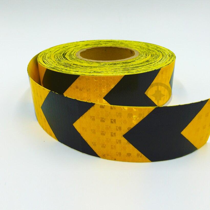 5 cm x 5 3m auto adesiva fita de advertencia reflexivo com seta impressao amarelo