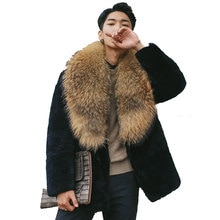 Hommes hiver vison fourrure manteaux tout décontracté vente casual renard grand col de fourrure noir mâle vestes de haute qualité grande taille manteaux Outwear