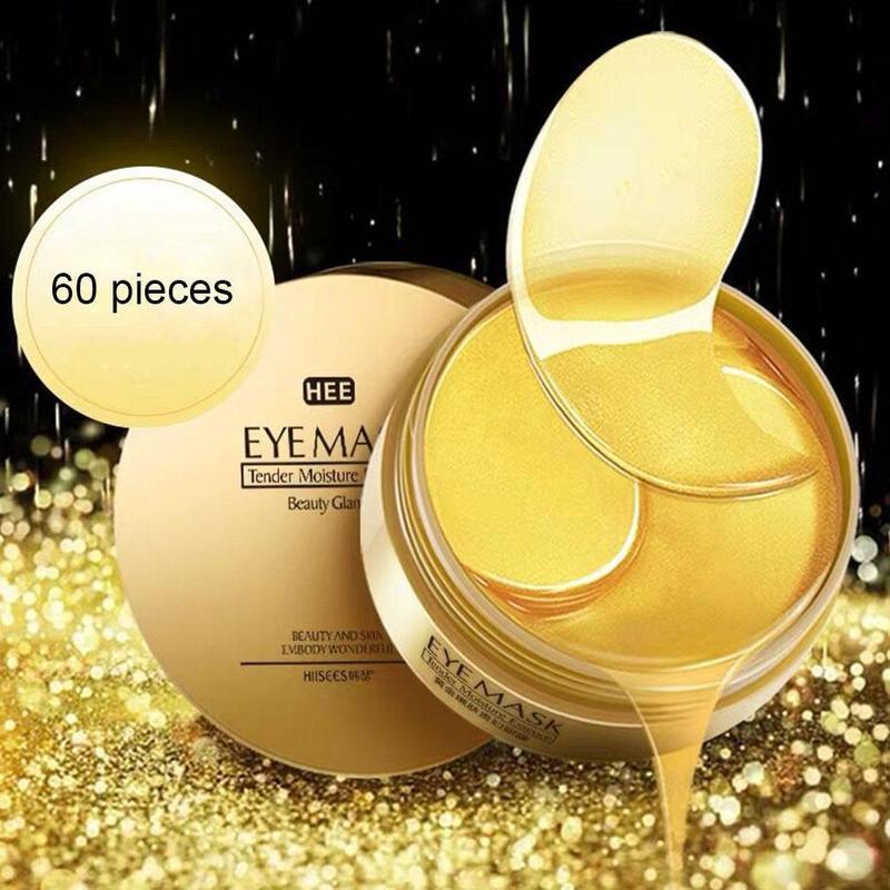 60 pçs ouro/algas colágeno máscara de olho rosto anti rugas gel sono máscara de ouro remendos de olho colágeno hidratante máscara de olho cuidados com os olhos Cremes    -