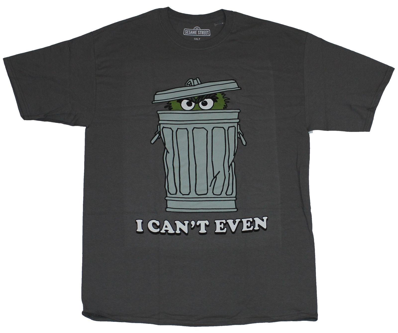 Camiseta para hombre Plaza Sésamo-Oscar The Grouch I Cant Even Hiding Can Image Cartoon camiseta para hombre Unisex nueva camiseta de moda