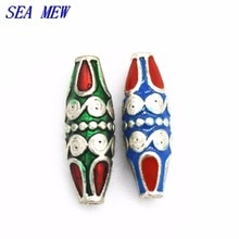 SEA MEW 10 pièces 8mm * 25mm alliage métallique émail gouttes de glaçure ovale népal fait à la main entretoise perles trou perle pour la fabrication de bijoux