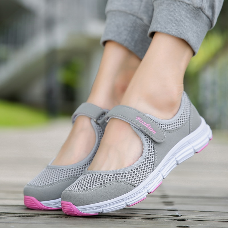 Summer Breathable Women Sneakers Healthy Walking Mary Jane Shoes Sporty Mesh Sport Running Mother Gi