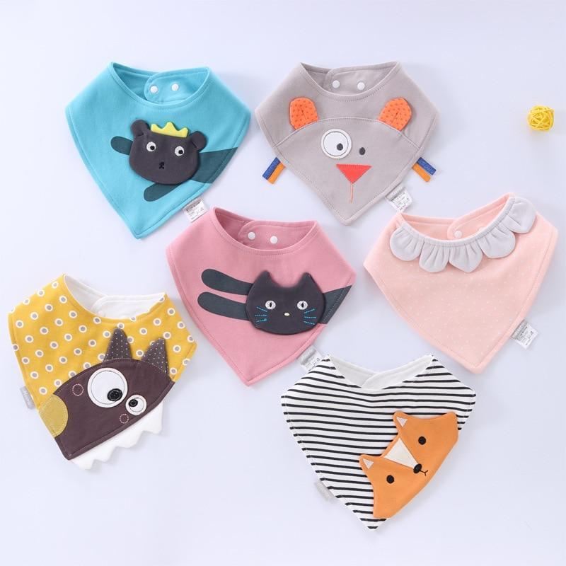 Baberos triangulares impermeables de algodón con dibujos animados para bebé, Bandana, babero...