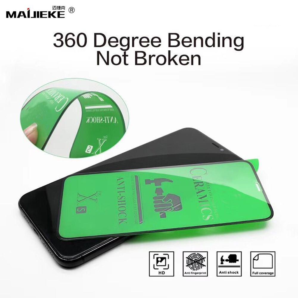 10 unidades 9H película de cerámica suave de la cubierta completa para el iPhone 11 pro XR X XS Max 7 8 6 6S Plus pegamento completo Protector de pantalla no Vidrio Templado