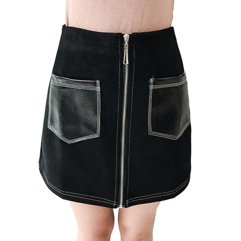 Yeni Moda Süet Etekler Kadın 2018 Yaz Saias Yüksek Bel Bir Kelime Etek Eğik Fermuar Mini Etek Zarif Jupe Kadın faldas