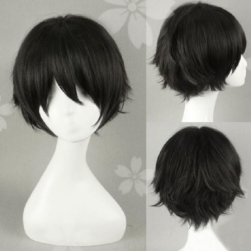 ¡Tee! Keiji Akaashi pelo negro corto Anime Future Diary Yukiteru Amano Peluca de disfraz de Cosplay resistente al calor + gorro de peluca gratis