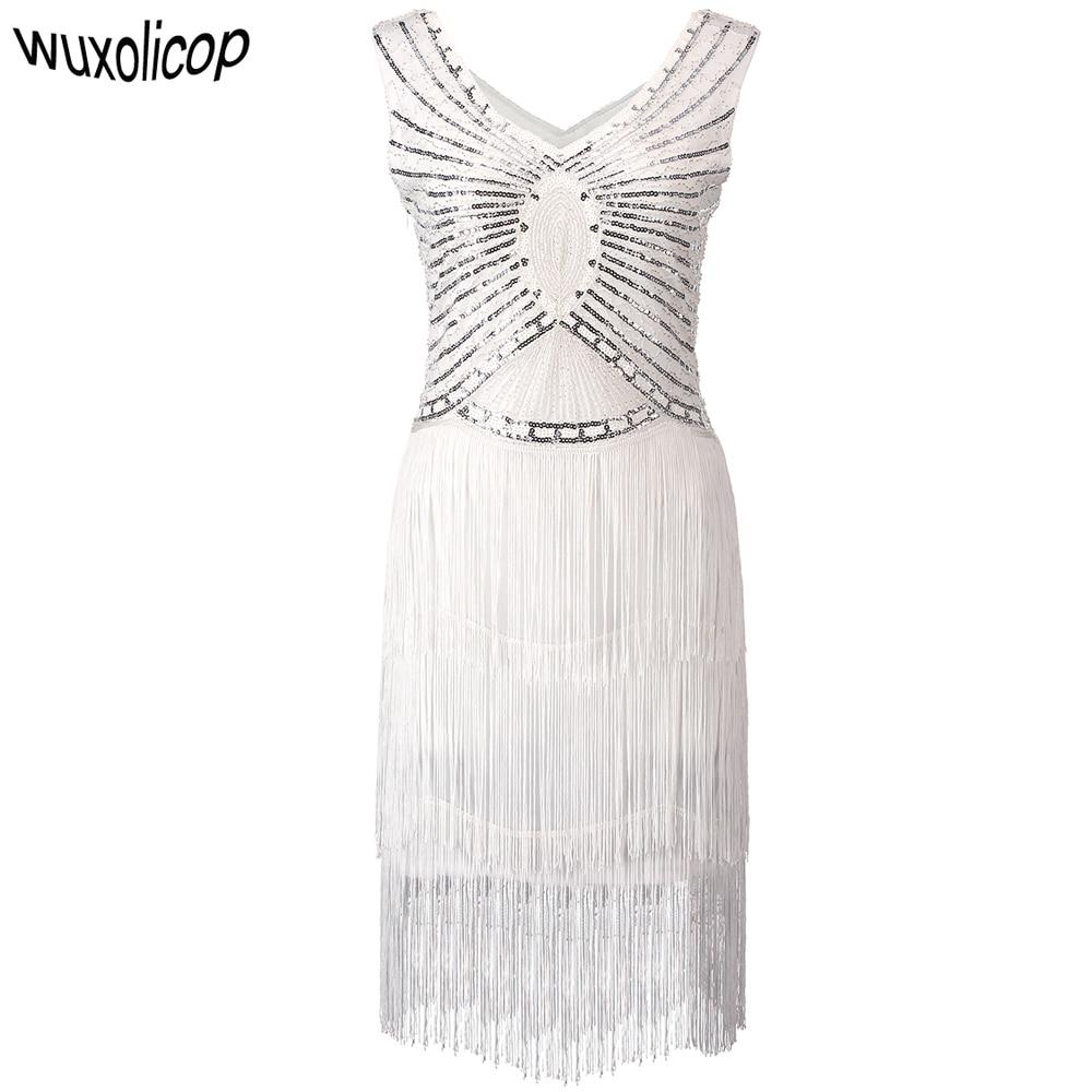 1920s גטסבי צ רלסטון נצנצים לבן חרוז סנפיר שוליים שמלת Vestido Robe כפול V-צוואר שרוולים שכבות טאסל מפלגה שמלה