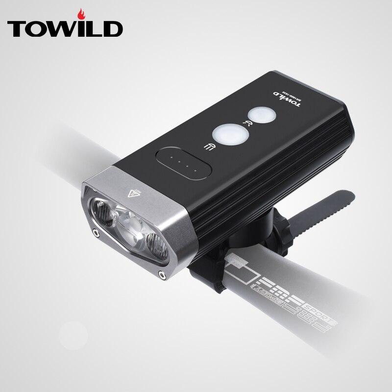 TOWILD-مصباح دراجة احترافي ، بطارية طاقة 1800 لومن ، مقاوم للماء ، USB قابل لإعادة الشحن ، مصباح يدوي ، ملحقات الدراجة