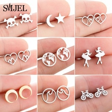 SMJEL Tiny Ballet Earrings for Women Girls Kids Jewelry Romantic Stainless Steel Stud Earrings Wave