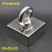 Aimant néodyme Super puissant disque de récupération   1 pièce 50x50x25, aimant de terre Rare avec anneau 50*50*25