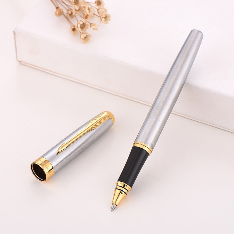 Baoer 388 Gel pen Rollerball Pen Black Golden Business Metal Ballpoint Pens for school Golden Clip Gold Bboligrafo Muji made cus